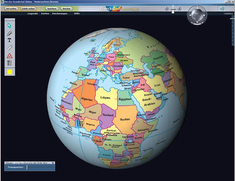 Globus Karte.Diercke Grundschulatlas